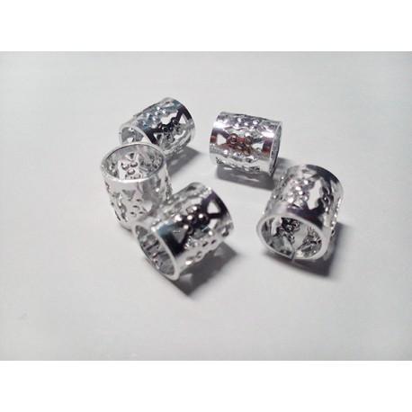 5 Metal Beads Plata