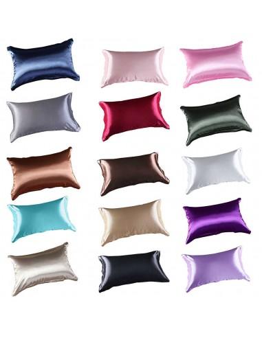 Funda Almohada Cojín Satén Cama individual Color A Elegir
